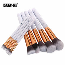 MAANGE 10 Pcs Marble Makeup Brushes Set Bedak Kosmetik Eyeshadow Lips Make Up Brush maquiagem Dropshipping