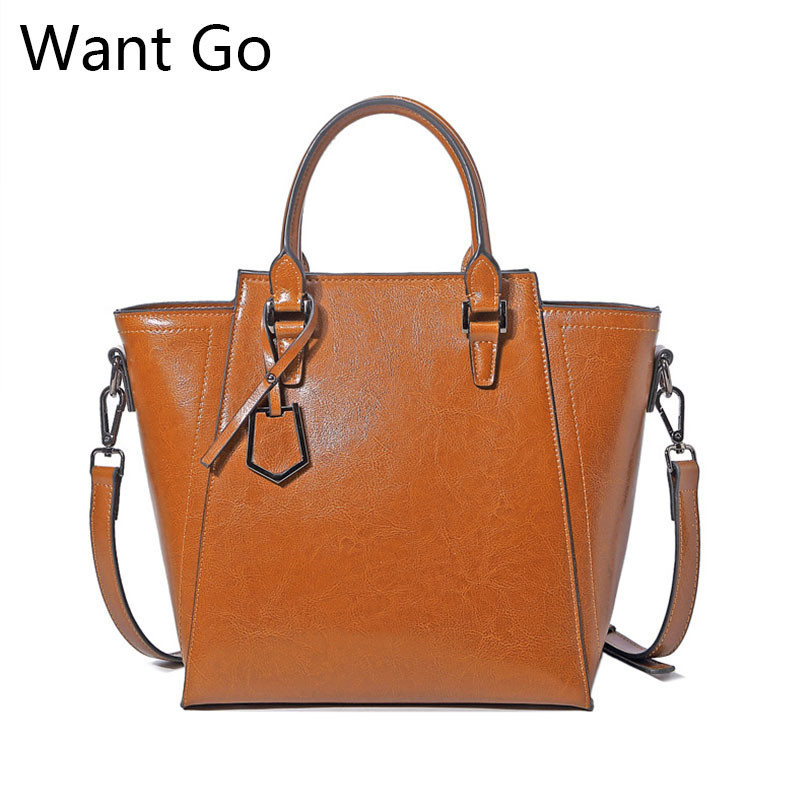 Want Go Genuine Leather Women Dress Tote Handbag High Capactity Lady Leather Shoulder Bag Fashion Female
