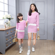 Fashion Mother And Daughter Dresses For Girls Skirts Sets+Sweater 2Pieces Autumn Girls Clothes Sets Solid Cotton Ladies Dress