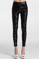 Hot Sale Faux Leather High Waist Leggings Stretch 79369 Luxury Black Sequin Slim Punk PU Leather