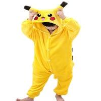 Flannel Animal Pokemon Pikachu Onesie Pajamas Children Fantasia Cosplay Costumes Hooded Romper Halloween Costume For Kids