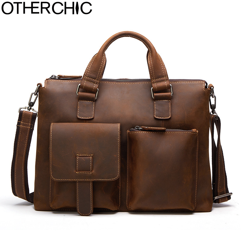 OTHERCHIC Crazy Horse Cowhide Genuine Leather Men Business Briefcase Shoulder Messenger Bag Laptop Bag Men Lawyer Handbags 06-25 цена и фото