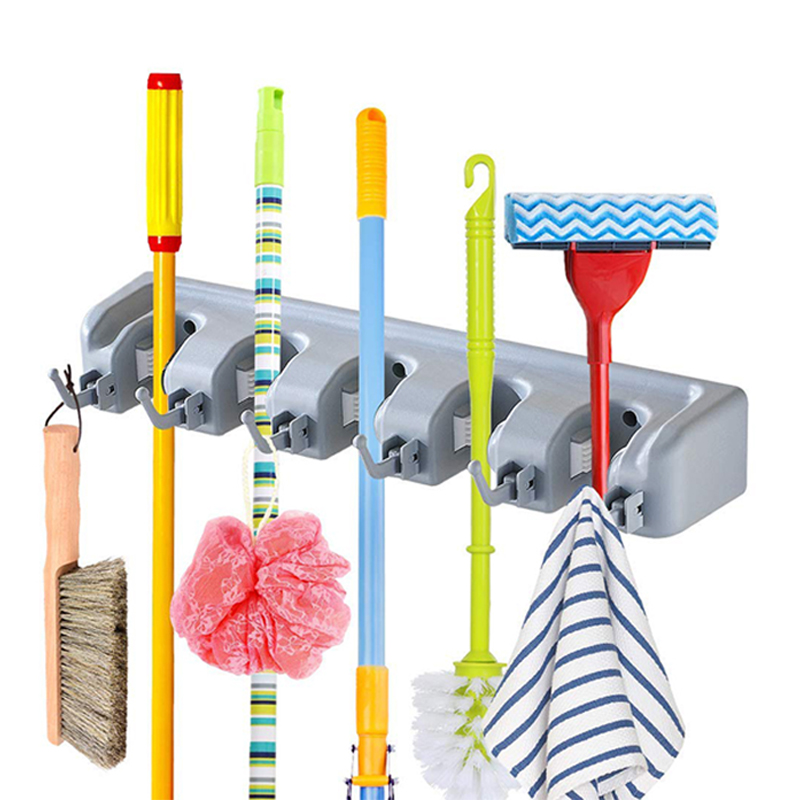 Mop and Broom Holder Organize Rack Made of Plastic for Kitchen Garage Basement Garden and Laundry Room