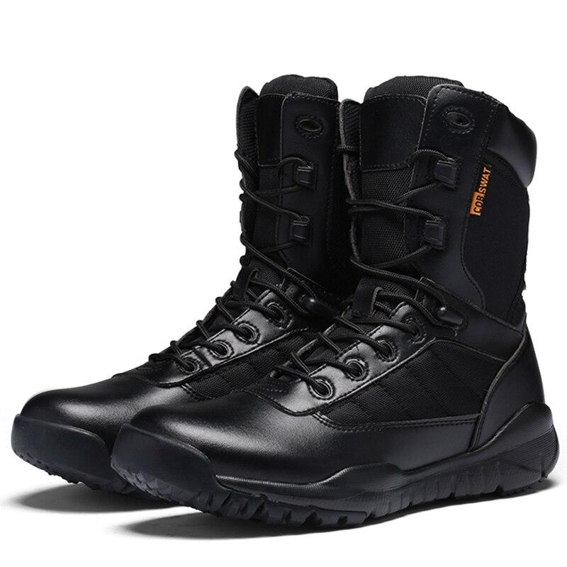 5493c5df347 Comprar Botas De homem com PU de Couro Botas de Equitação da Motocicleta  Dos Homens Militares de Caça Caminhadas Sapatos de Alta Qualidade Tactical  Botas ...