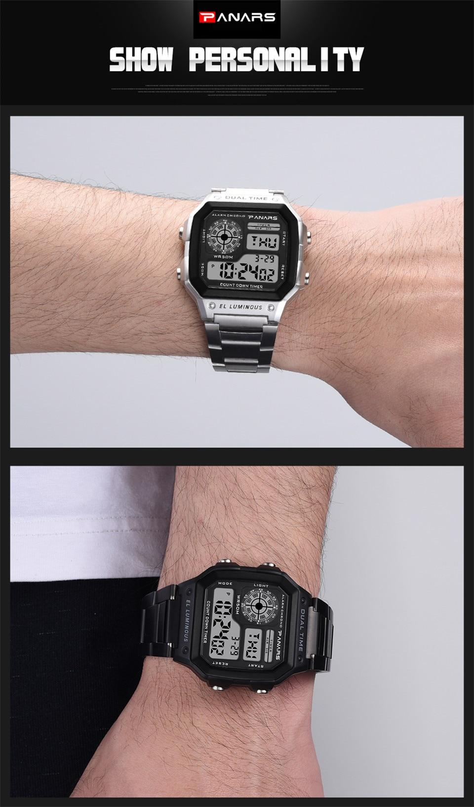 ef5dcfeaa57 Relógio de aço inoxidável Digital Wrist Watch Men Electronic Watch Luxury  Sport Watch LED Display Kol Saati Zegarki Meskie Horloges ...