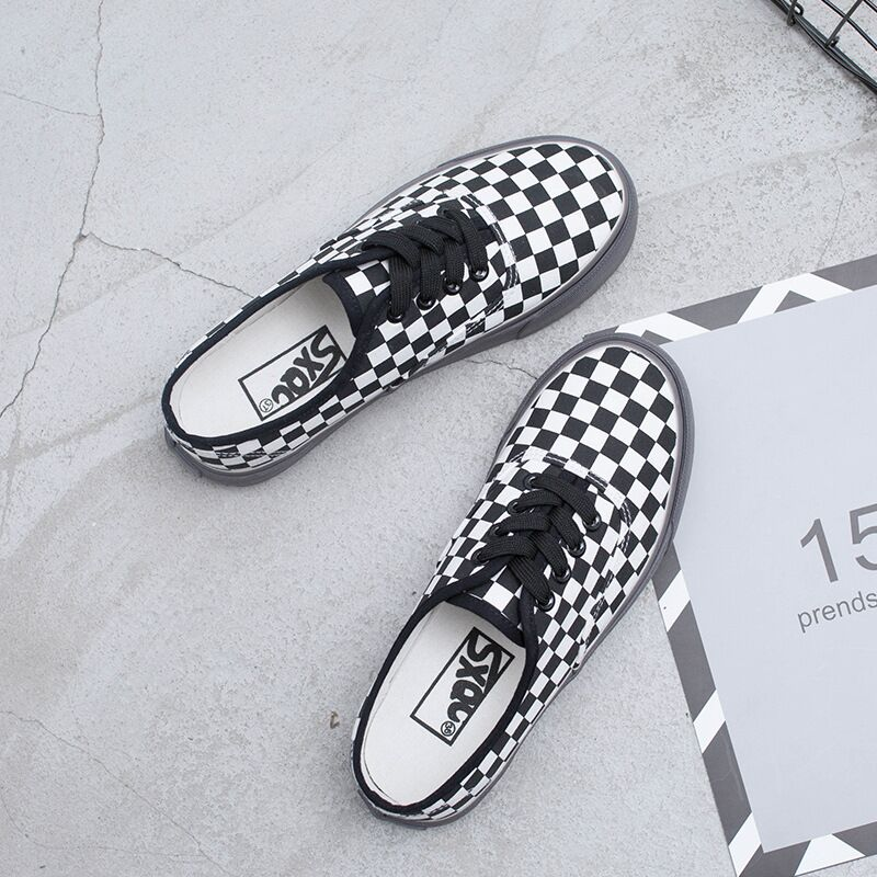 2018 New Rome Style Plaid Canvas Shoes Women Flats Low Top Lace Up Sneakers Fashion Korean Black And White Lattice Shoes