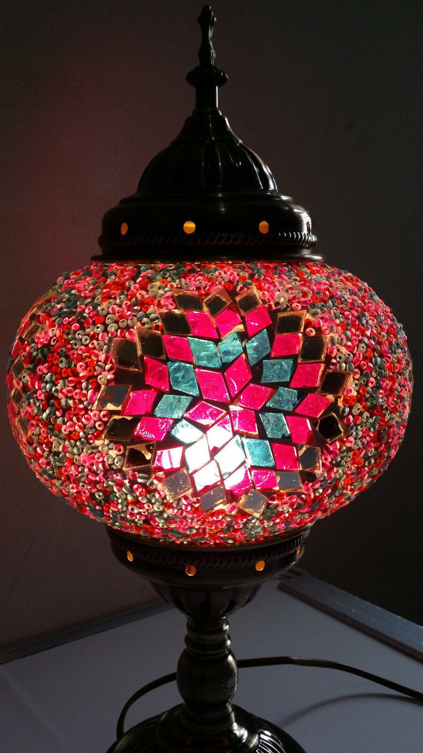Turkish moroccan handmade mosaic red stained glass table lamp hand turkish moroccan handmade mosaic red stained glass table lamp hand craft desk lamp new in table lamps from lights lighting on aliexpress alibaba geotapseo Gallery