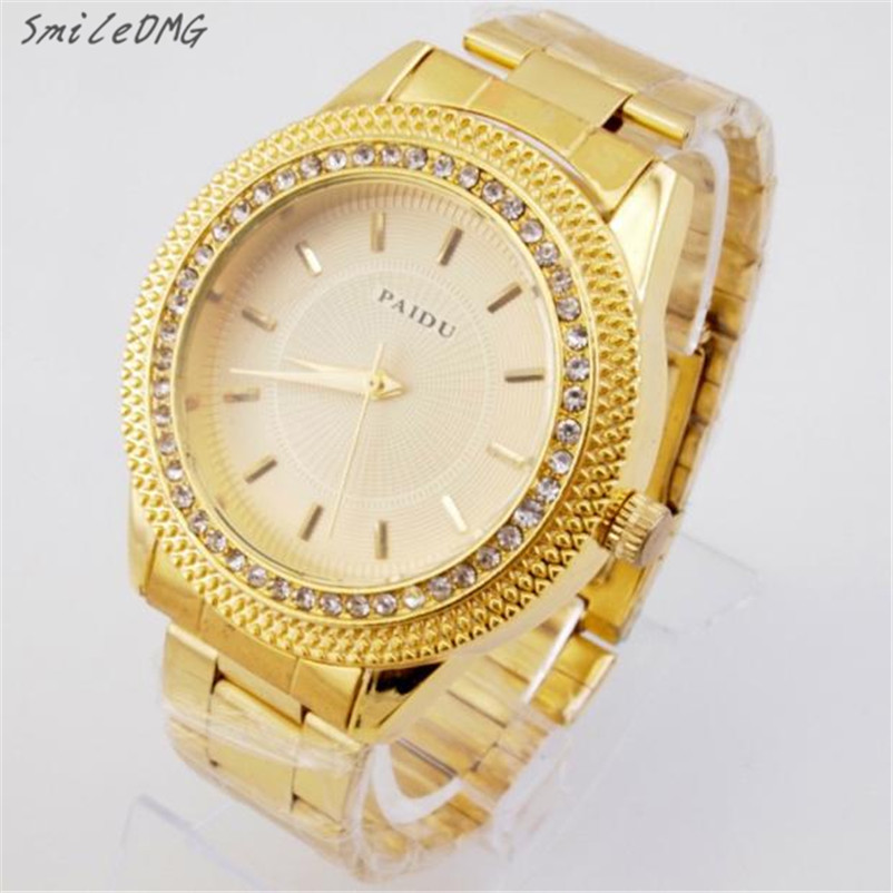 SmileOMG Mens Gold Watches Diamond Dial Gold Steel Analog Quartz Wrist Watch Christmas Gift Free Shipping ,Sep 8 smileomg hot sale fashion women crystal stainless steel analog quartz wrist watch bracelet free shipping christmas gift sep 5