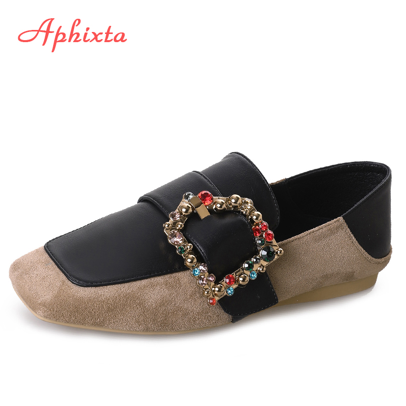 Aphixta Loafers Shoes Women Flats Heel Spring Autumn Colorful Buckle Square Toe Female Ladies Casual Slip On Mary Janes Shoes daitifen 2018 spring elegant mental buckle pointed toe ladies flat shoe fancy flock shoes women flats casual slip on women flats