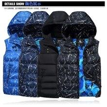 6XL 8XL 10XL Fashion Hooded Vest Men Thicken Warm Cotton-padded Waistcoat Male Sleeveless Jacket Hat Detachable Plus size недорого