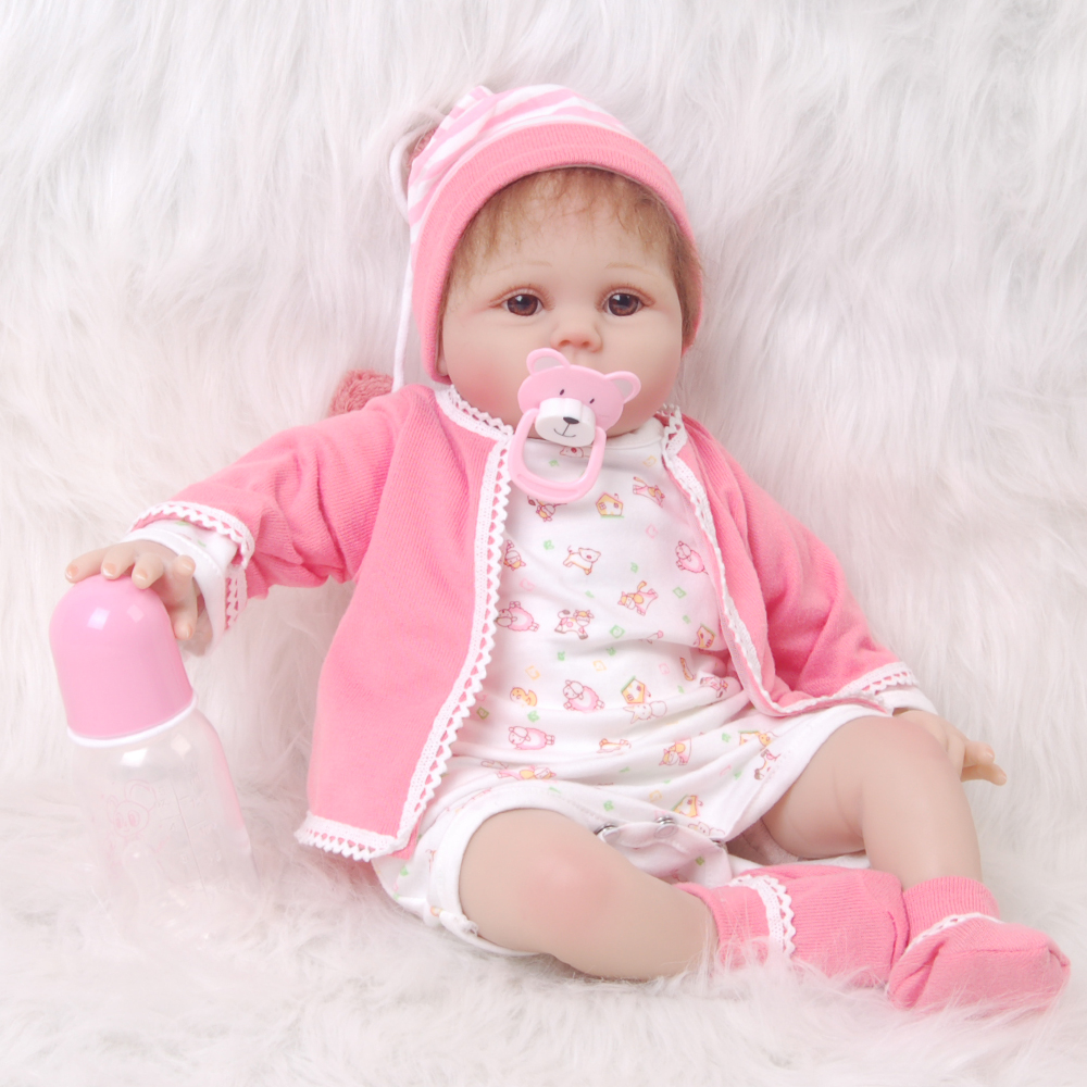 4b3f696d10ab Realistic Girl Princess 22 inch Baby Dolls Alive Reborns Toddler bebe 55cm  pink outfit handmade doll kids birthday gift hot sale