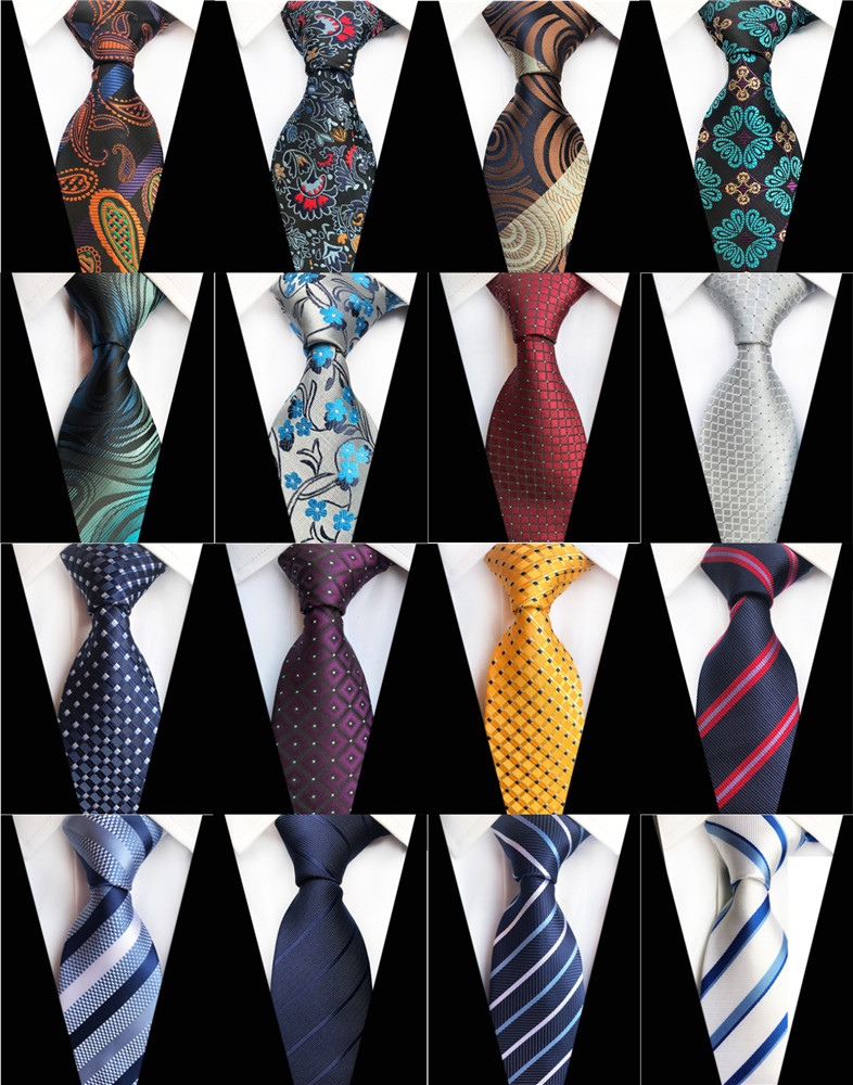 New Design Paisley Plaid Jacquard Woven Silk Mens Ties Neck Tie 8cm Striped Ties for Men Business Suit Business Wedding Party(China)