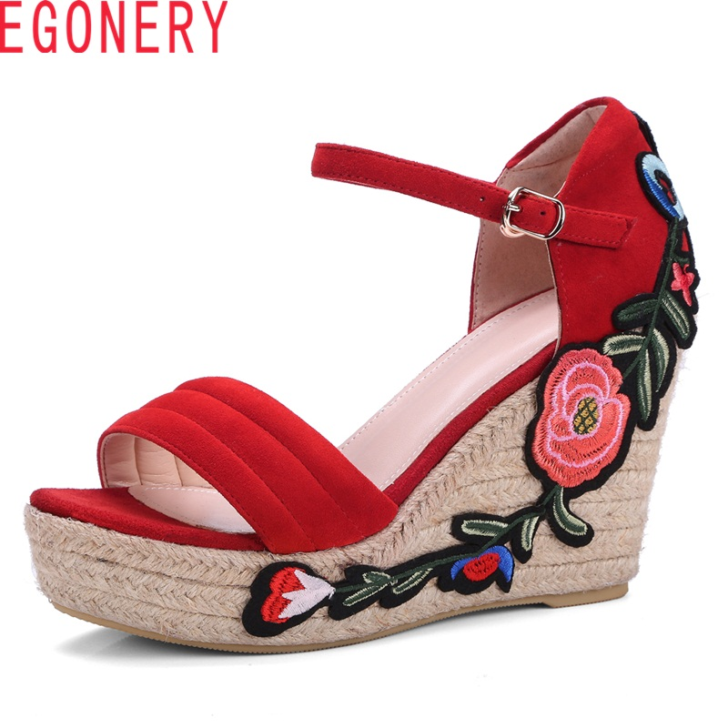 EGONERY new kid suede super high wedges platform flower cover heel buckle embroider casual heel height 10.5 cm women sandals venchale 2018 summer new fashion sandals wedges platform women shoes height heel 10 cm buckle strap casual cow leather sandals