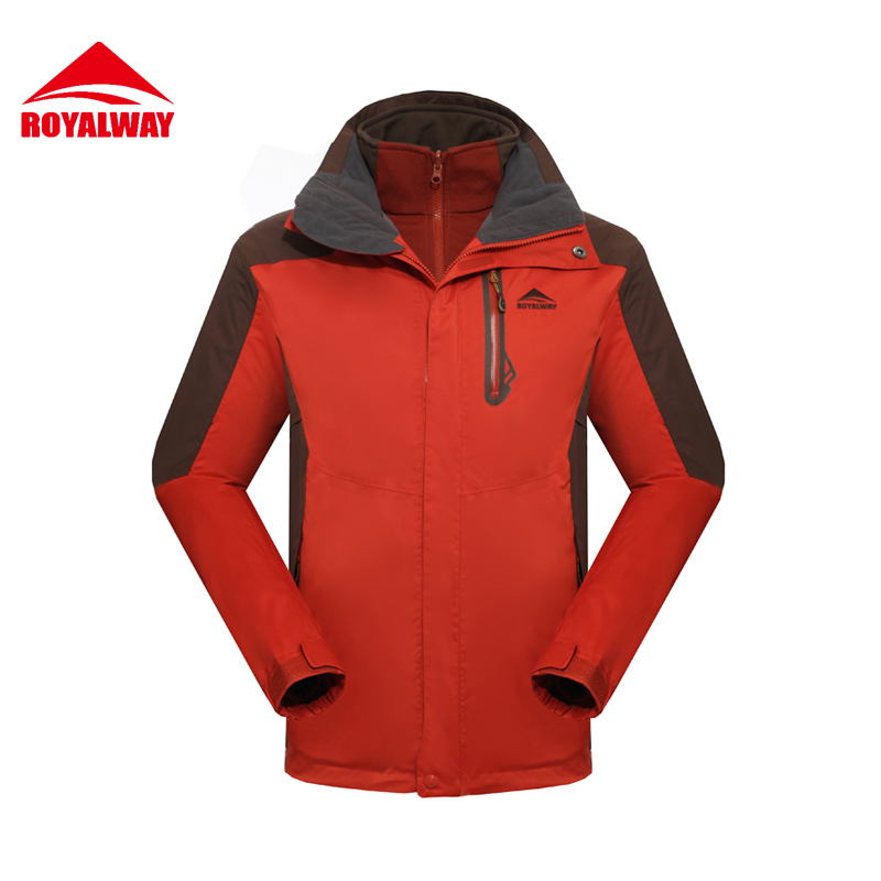ROYALWAY 2Pieces Outdoor Jackets Men With Softshell Jacket Waterproof Windproof Hiking Camping Free Shipping#RFOM4251E