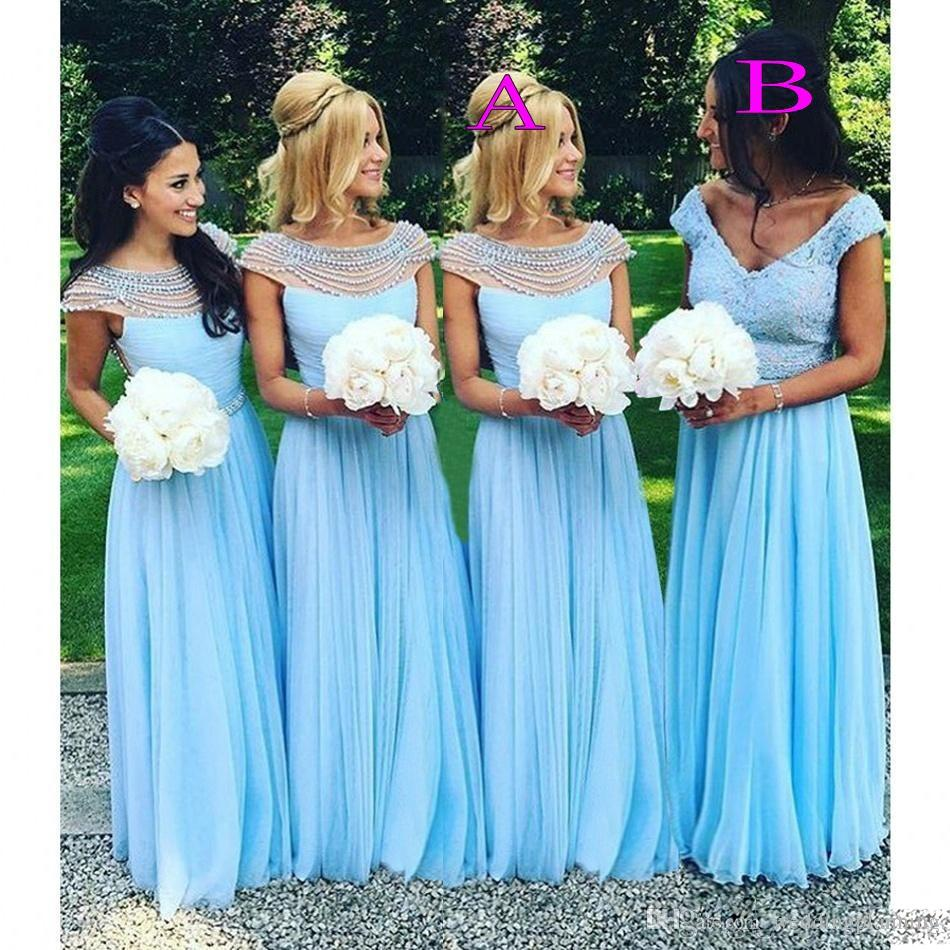 High Quality Sky Blue Bridesmaid Dress-Buy Cheap Sky Blue ...