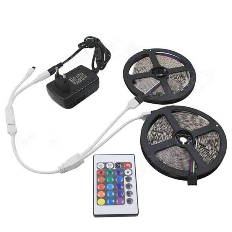 10 м SMD 3528 Водонепроницаемый диммируемая цветная (RGB) 600 Светодиодные ленты свет + Пульт ДУ + кабель подключения + ЕС/США штекер Адаптер DC12V