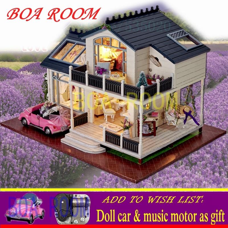 Doll House Poppenhuis Casa De Boneca Romantic Provence lavender Miniature Model Wooden Toy Furnitures Convertible Dollhouse A032 doll house diy miniature dollhouse model wooden with furnitures casa de boneca toys adventure tour