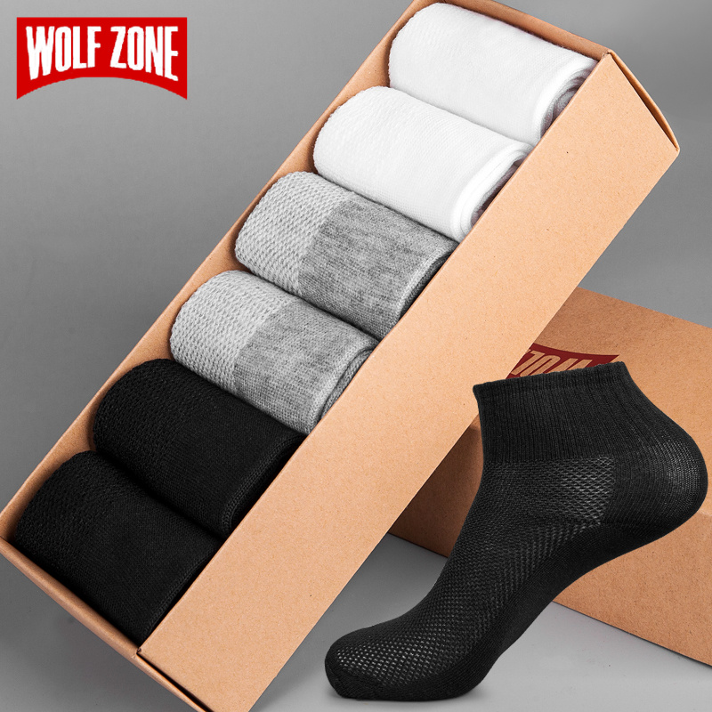 WOLF ZONE spring summer men Socks Breathable men's business casual solid colors Crew short socks male sock slippers 5pairs/lot