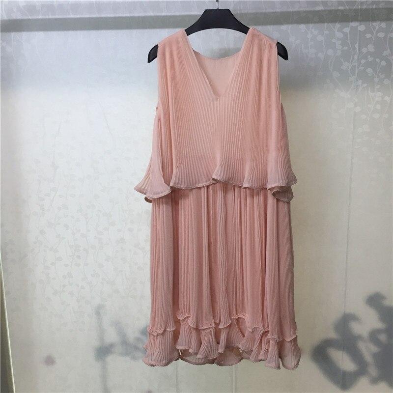 Robe rose pour femmes solide sans manches col en v mi-mollet longueur dame robe pour la fête 2018 nouvelles femmes robe en vente