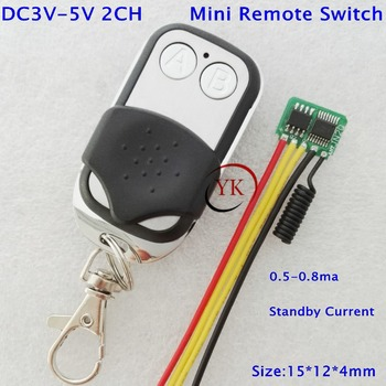 Дистанционный выключатель Micro Mos 2 канала маленький беспроводной Бесконтактный переключатель 3,3 v 3,6 v 3,7 v 4,2 v 4,5 v 5v Низкий Stadby ток 0,5-0.8ma 433