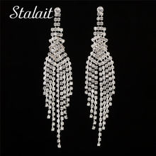 Multi Layer Hollow Wings Leaf Tassel Full Rhinestone Earrings Vintage Water Drop Silver Color Earrings For Women Wedding Jewelry