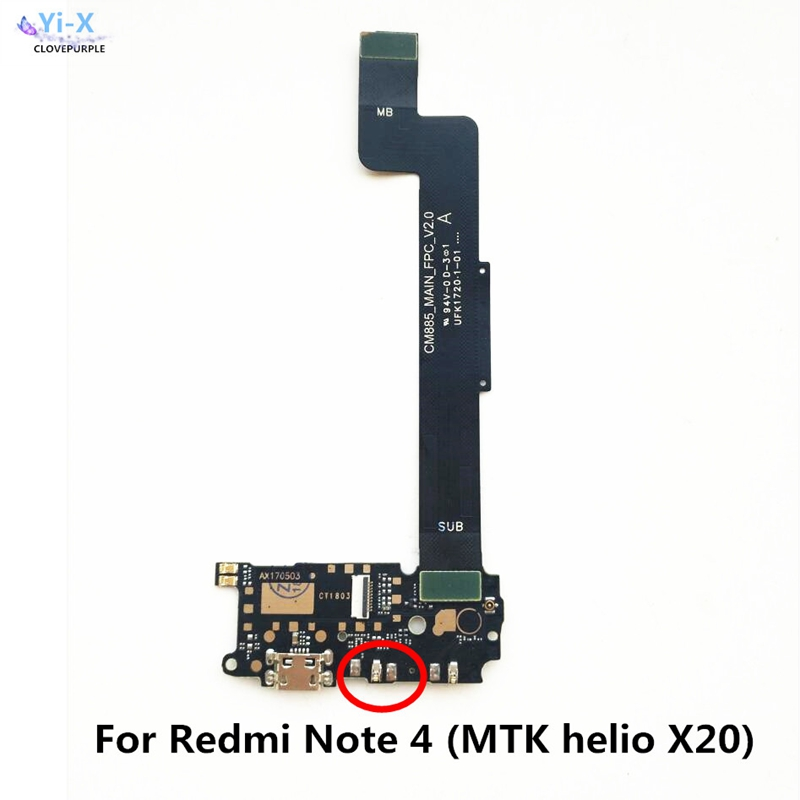 For <font><b>Xiaomi</b></font> <font><b>RedMi</b></font> <font><b>Note</b></font> <font><b>4X</b></font> MTK 2017 USb Charging Board Charge microphone MainBoard <font><b>Motherboard</b></font> Flex Cable image