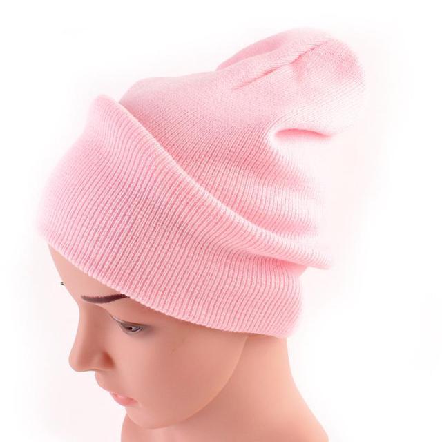 Parent-enfant solide tête cap Acrylique fibers Maman Et Bébé Tricot Garder  Chapeau Chaud femelle 732198b9355