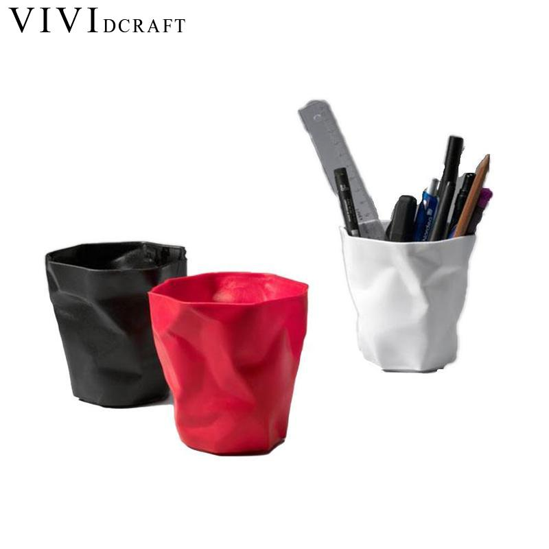 Vividcraft Mini Pen holder Office Desk Accessories White Pen Pencil Holder Pot Desktop Organizer Stand For Office Plastic Scale