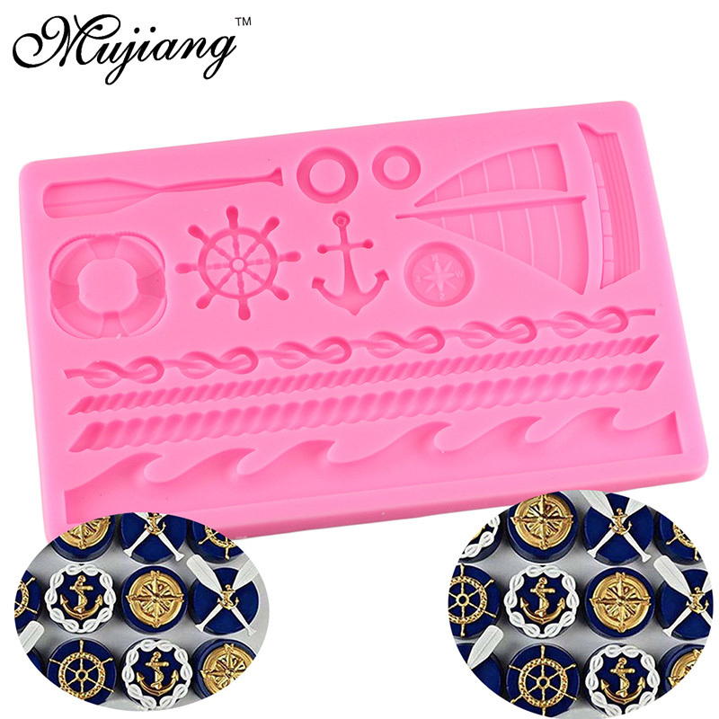 Ocean Series 3D Anchor Rudder Boat Silicone Fondant Mold Birthday Cake Decorating Tools Cupcake Candy Chocolate Gumpaste Molds