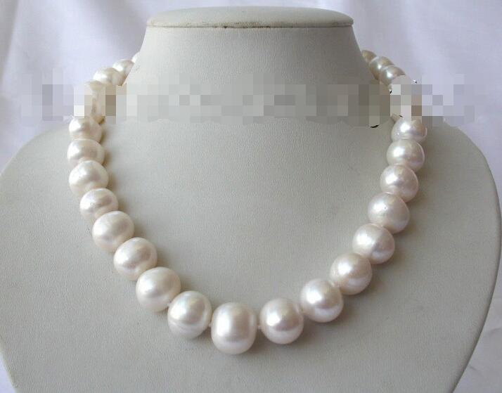 Prix de gros 16new ^ ^ ^ ^ superbe grand collier de perles de culture deau douce blanche ronde 15mm s1330Prix de gros 16new ^ ^ ^ ^ superbe grand collier de perles de culture deau douce blanche ronde 15mm s1330