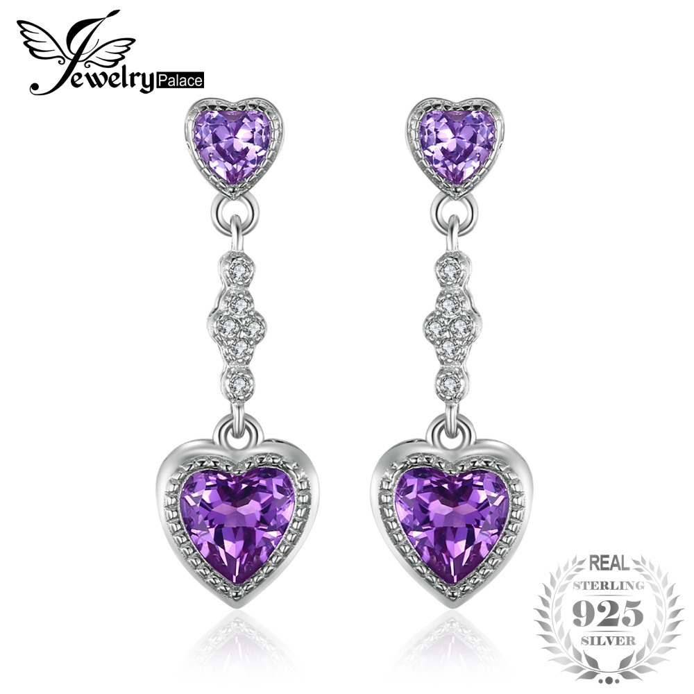 JewelryPalace Fashion 4.1ct Created Alexandrite Sapphire Drop Earrings 925 Sterling Silver Fine Jewelry For Women Heart Earrings jewelrypalace new 1 3ct pear created alexandrite sapphire water drop earrings 925 sterling silver fashion fine jewelry for women