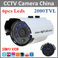 Hot promotion 2000tvl Sony CCD IR Outdoor & indoor CCTV Bullet Camera 6pcs Leds Security camera IR Cut night vision waterproof