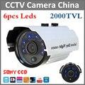 Promoção quente 2000tvl Sony CCD IR Outdoor & indoor CCTV Câmera Da bala 6 pcs Leds câmera de Segurança IR Cut night vision à prova d' água
