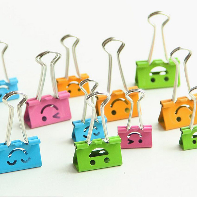 10 Pcs/lot Multi-color Useful Smile Binder Clips Metal Paper Clips For Home Office Books School Supply File Paper Organizer Clip