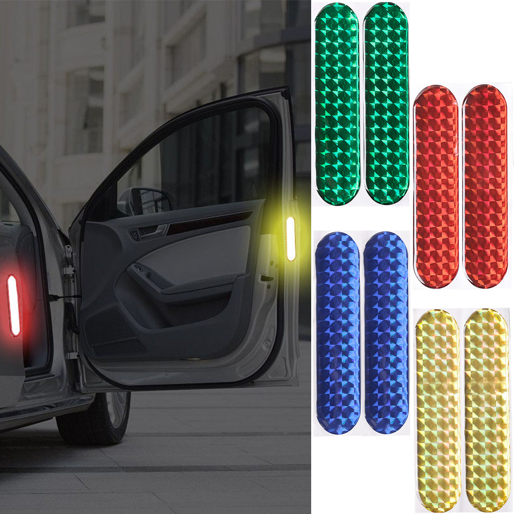 2pcs Car Door Sticker Decal Warning Tape Car Reflective Stickers Reflective Strips Car-styling 4 Colors Safety Mark