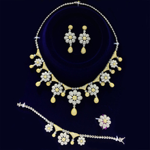 GODKI Two Tone Color Gold And White Gold color Women Luxury Bridal Set Cubic Zirconia Necklace Ring Bracelet Earring Jewelry Set