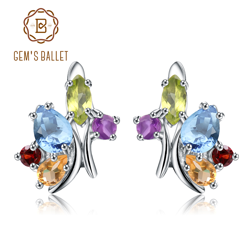 Gem s Ballet Flower Multicolor Natural Amethyst Garnet Peridot Citrine Topaz 925 Sterling Silver Stud Earring