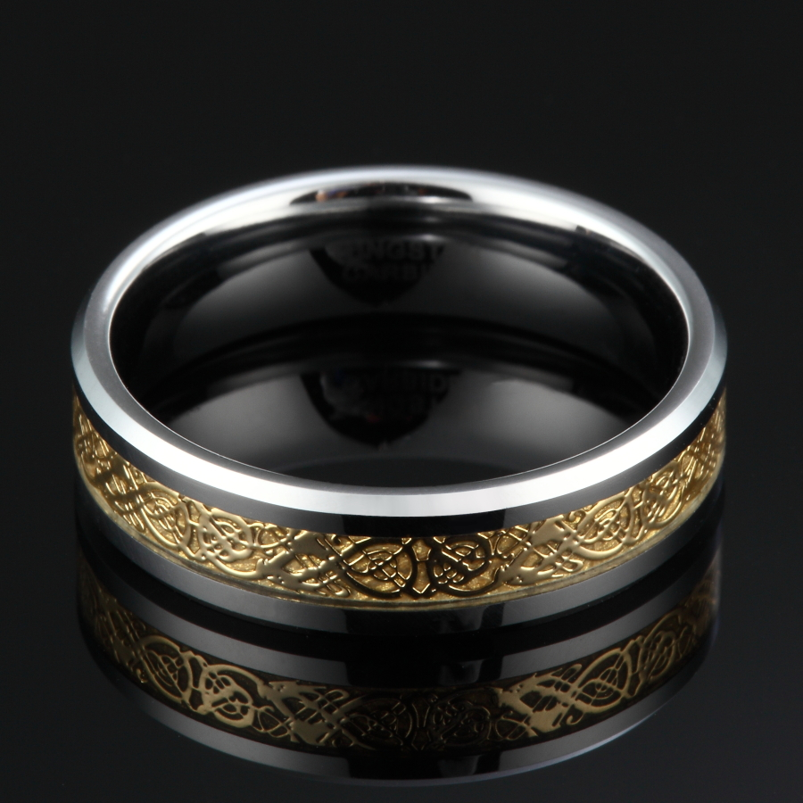 6MM Men Women Tungsten Carbide Ring Wedding Band Gold Celtic Dragon Inlay Polished Finish Edge Fashion Jewelry Comfort Fit in Wedding Bands from Jewelry Accessories