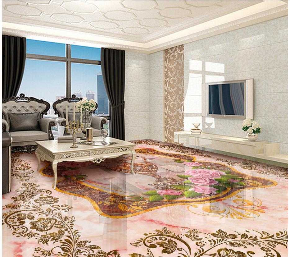Rose Vase marbre plancher pvc auto-adhésif papier peint plancher papier peint 3d pour salles de bains 3d plancher - 2