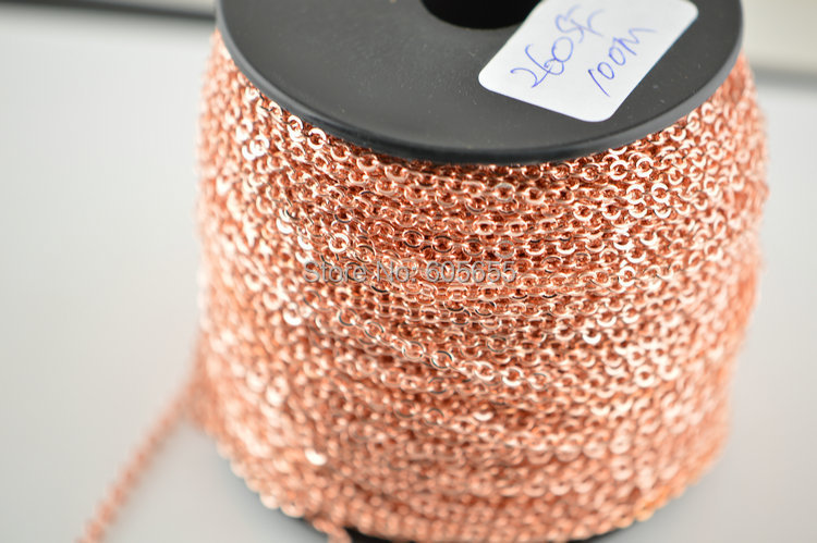 High quality Rose gold color Small Size 2 3mm Tiny Copper Chains Fit Fashion DIY jewelry