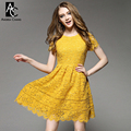 spring summer runway designer womens dresses yellow green lace ball gown high quality fashion vintage cute brand mini lace dress