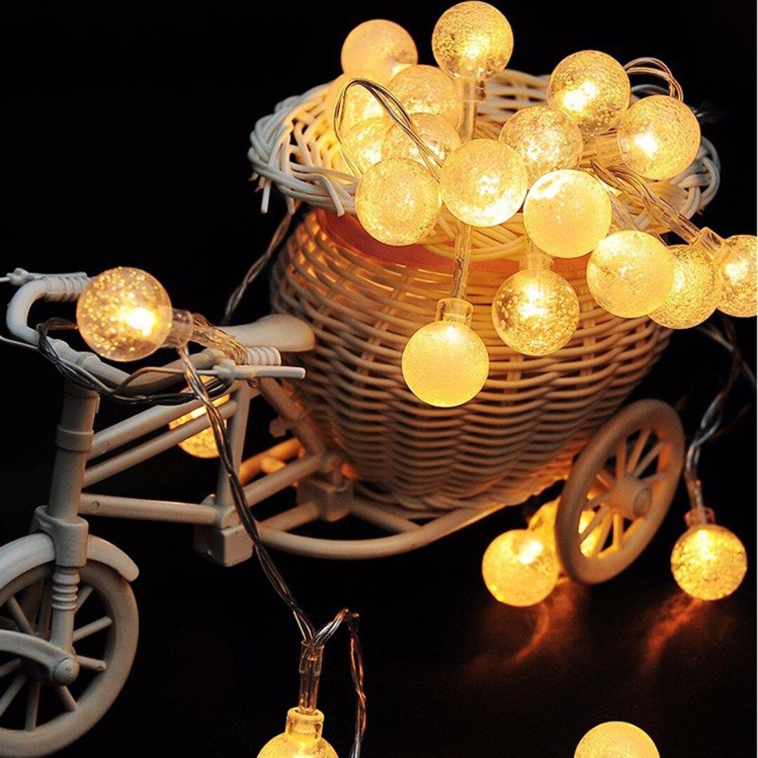 40LED 220V 6m Potência Da Lâmpada Bola de Cristal LED Luzes Cordas de Fadas para Casa Garden Outdoor Decoração Guirlanda