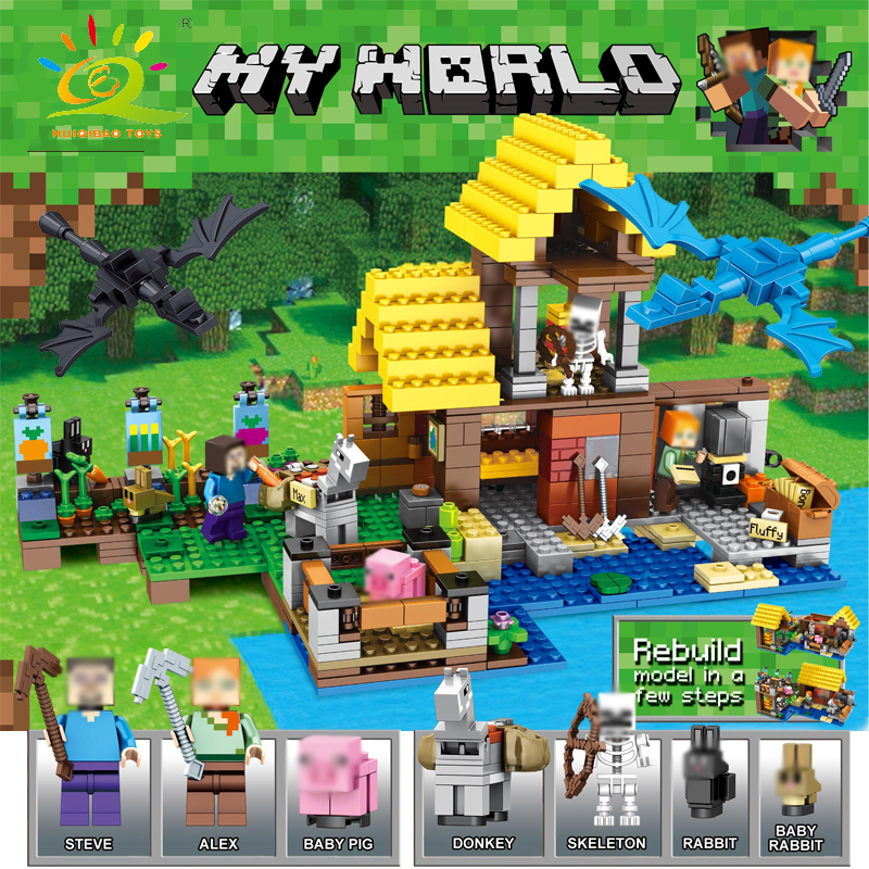 HUIQIBAO TOYS 570pcs Happy Farm House Animal Figures Bricks Building Blocks Compatible Legoed Minecrafted City Toys For Children huiqibao toys 771pcs 8in1 minecrafted manor estate house my world model building blocks bricks set compatible legoed city friend