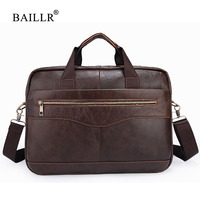 BAILLR Brand Men Briefcase Men Genuine Leather Handbag For Laptop Male Crossbody Shoulder Bag High Quality