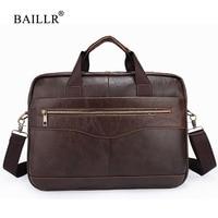 BAILLR Brand Men Briefcase Men Genuine Leather Handbag For Laptop Male Crossbody Shoulder Bag High Quality