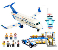 652Pcs GUDI 8912 City International Airport Figure Blocks Compatible Legoe Construction Building Bricks Toys For Children