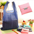 1 PC Unisex Women Star Dots Striped Reusable Portable Shopping Bag Grocery Handbags Tote Environmental Folding Holders Bags 40