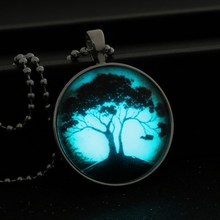 Tree Of life Glass Glowing Pendant Necklace Glow In The Dark Necklace Stainless Steel Long Chain Luminous Glass Cabochon
