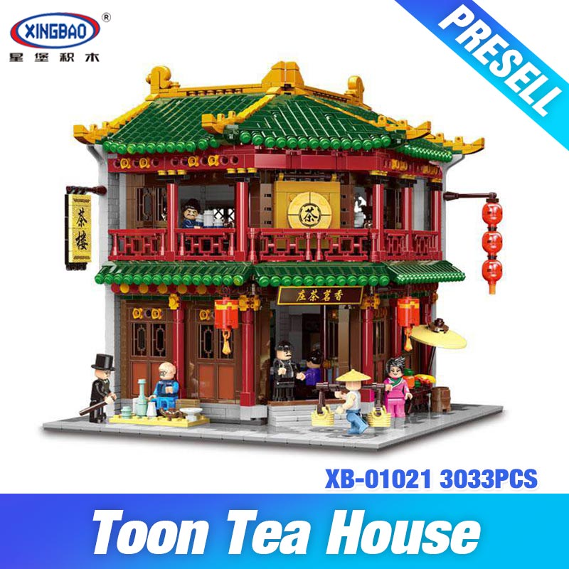 DHL XINGBAO 01021 3033Pcs Chinese Building Series The Toon Tea House Set Building Blocks Bricks Kids Toys Model Birthday Gifts bbwowlin pink baby girls formal dresses vestido infantil for 0 2 years birthday pary christmas for kids princess dress 9055