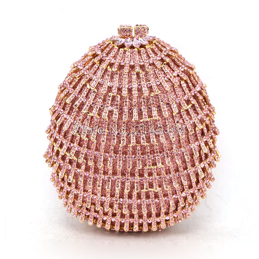 Women Champagne Luxury pink Crystal Soiree Pochette Clutch Circle Ball Shape Wedding Shoulder Lady Evening Bag (88632A)